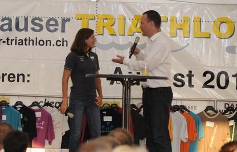 Moderation beim Jubiläum SH-Triathlon (mit N. Spirig), 9.8.2013 (IIIb)