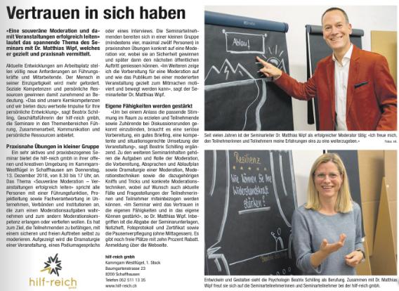 Publi-Reportage SH-Bock - zu Seminar bei hilfreich.ch (20.11.2018)-II