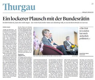Artikel zu Lilienberg-Talk mit BR KKS & Beni Sutter( TZ, 28.10.2019)